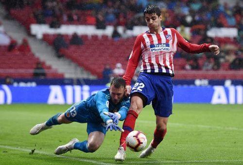 Alvaro Morata in action - Club Atletico de Madrid v Valencia CF - La Liga