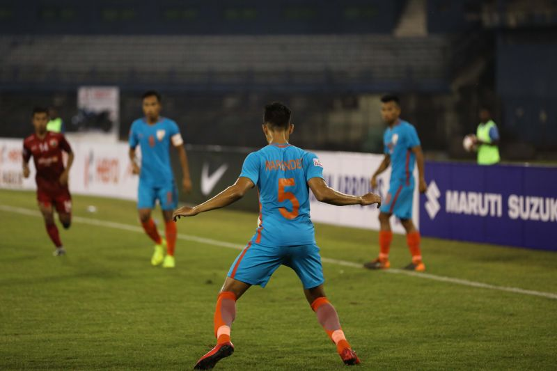 Narender Gehlot in action against Shillong Lajong in the 2018-19 I-League