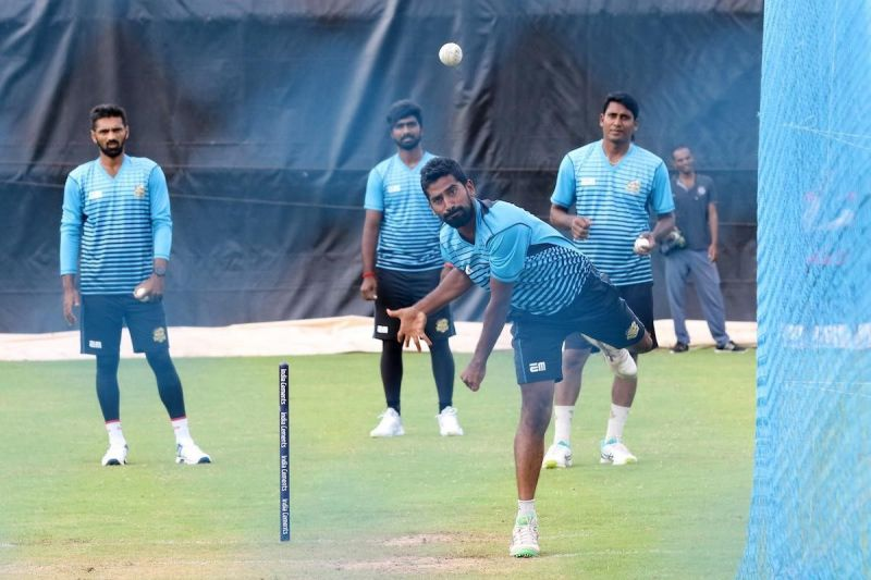 Siechem Madurai Panthers are pictured practicing ahead of the important clash