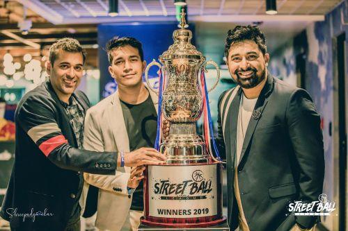 From left: Pranav (Director, Street Ball League), Harman Singha and Rannvijay Singha at Street Ball League