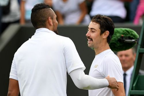 Nick Kyrgios won a thoroughly entertaining five-set match against fellow countryman Jordan Thompson.