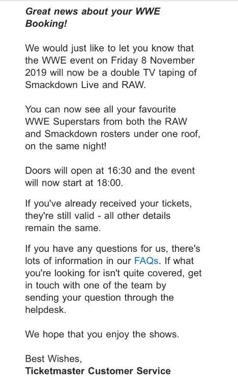 Ticketmaster today emailed this to SmackDown Live attendees
