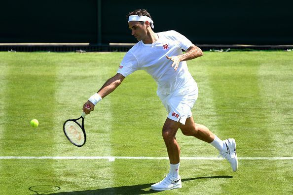 Federer in action during The Championships - Wimbledon 2019