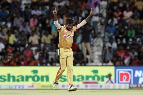 Periyasamy.G of Chepauk Super Gillies celebrates after picking two wickets by giving away 9 runs in his spell against theiDream Karaikudi Kalai