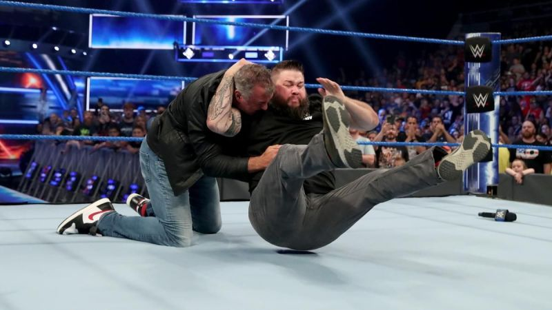 Kevin Owens using the Stunner on Shane McMahon
