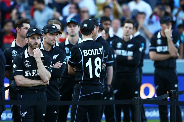 The New Zealand players appear a dejected bunch