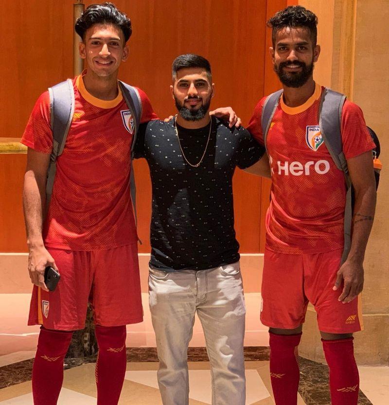 Indian internationals Sahal Abdul Samad and Jobby Justin with Wilbur Lasrado