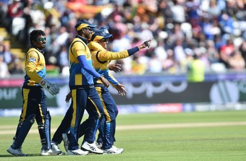 Sri Lankan cricketers in action during the 2019 World Cup