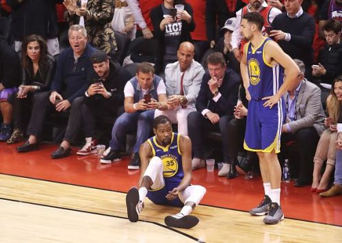 Kevin Durant after rupturing his Achilles tendon