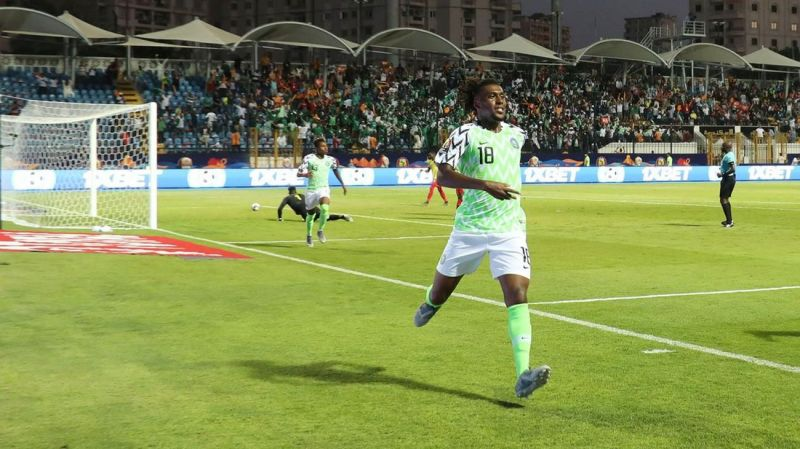 Iwobi wheels away to celebrate his side-footed winner, propelling Nigeria into the AFCON quarter-finals