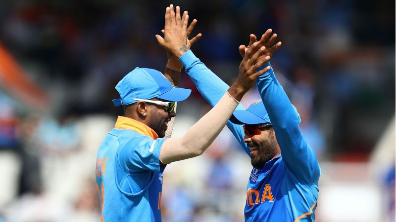 Hardik Pandya and Ravindra Jadeja celebrate - cropped