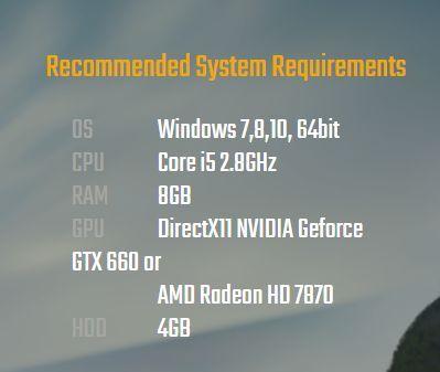 PUBG Lite Recommended System Requirements (Image courtesy: https://lite.pubg.com/download/)
