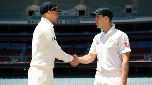 Joe Root shakes hands with Tim Paine