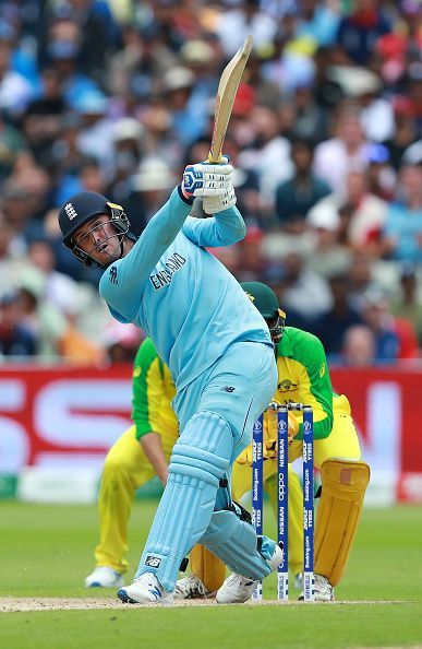 Jason Roy goes for a big one against Australia