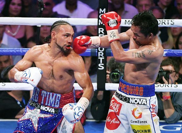 Manny Pacquiao knocked down Keith Thurman in the first round.