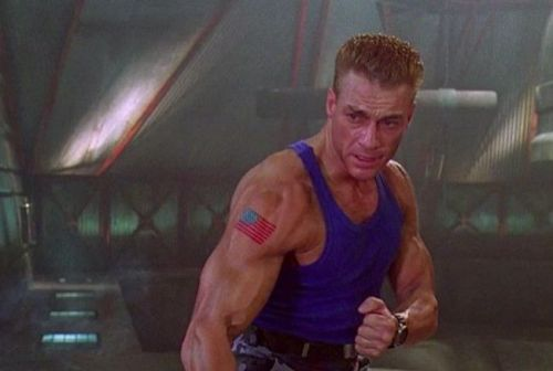 Jean Claude Van Damme on the set of the Street Fighter film.