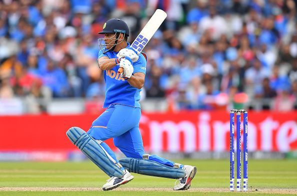 MS Dhoni in action against New Zealand.