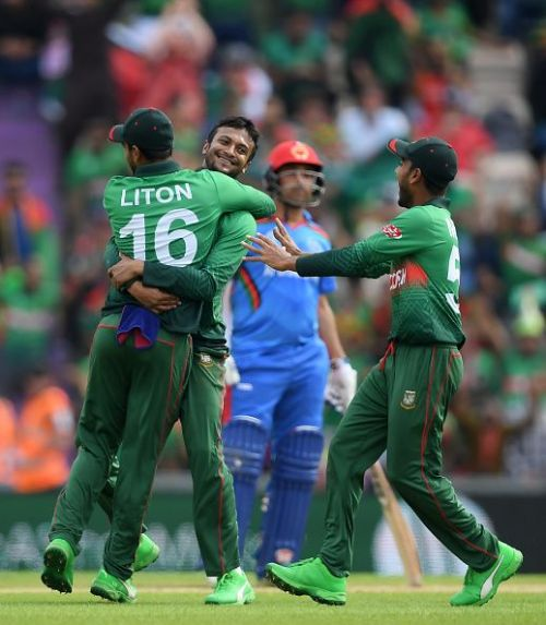 Bangladesh's players celebrating against Afghanistan at the ICC Cricket World Cup 2019