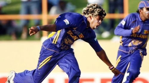 Malinga exults after picking up his fourth wicket