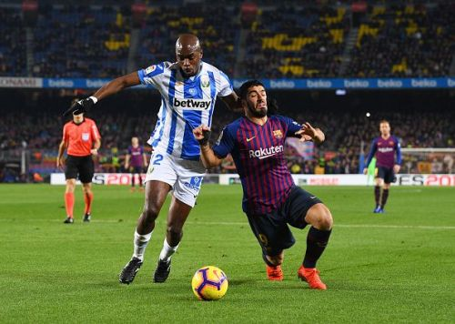 Allan Nyom and Luis Suarez challenging for the ball in the La Liga last season.