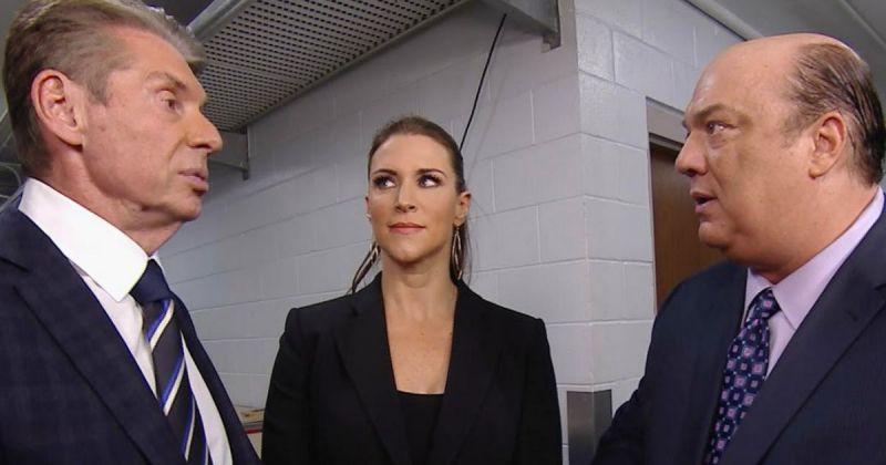 Vince McMahon, Stephanie McMahon and Paul Heyman