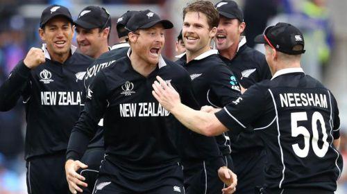 New Zealand players celebrating MS Dhoni's dismissal