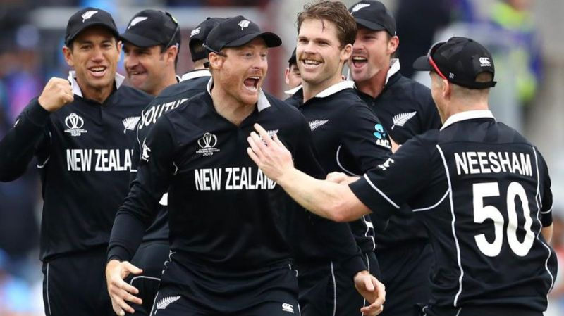 New Zealand players celebrating MS Dhoni