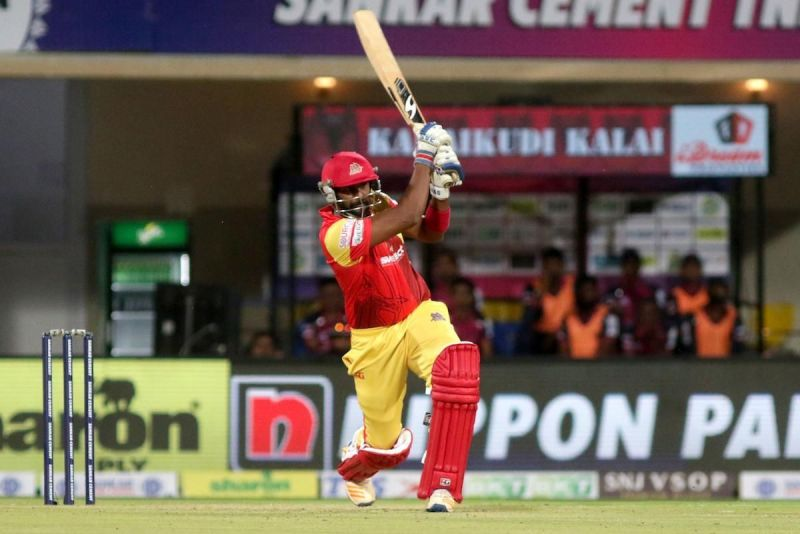 Rajagopal Sathish of VB Kanchi Veerans made a quickfire of 31 runs of 14balls and remained not out against iDream Karaikudi Kalai in Sankar Cement TNPL 2019 in NPR college cricket ground, Dindigul