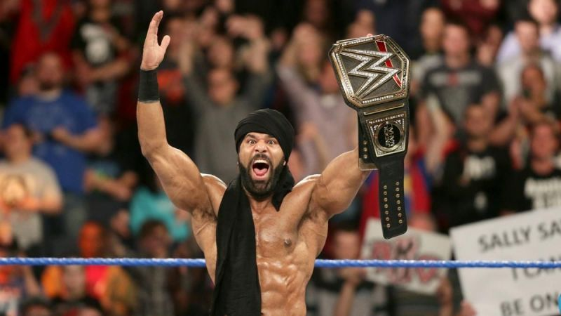 Jinder Mahal with the WWE title