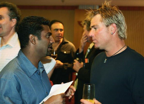 Shane Warne and Muttiah Muralitharan at the Tsunami Charity Match reception.