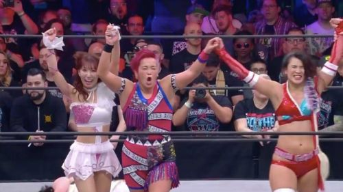 The two women -Abe on the left and Shida on the right - were on the winning side of a six woman tag team match at Double or Nothing