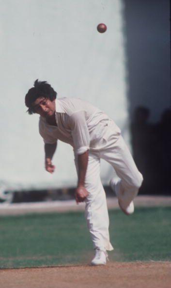 Nov 1979: Karsan Ghavri bowling against Australia in a Test at Bombay