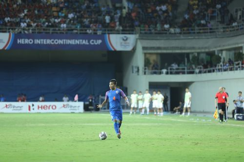 Jerry Lalrinzuala pushes forward to help India against DPR Korea in the Intercontinental Cup