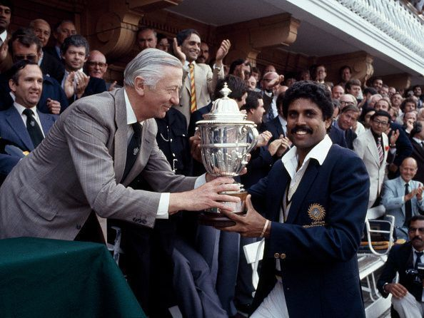 Kapil Dev with the 1983 World Cup