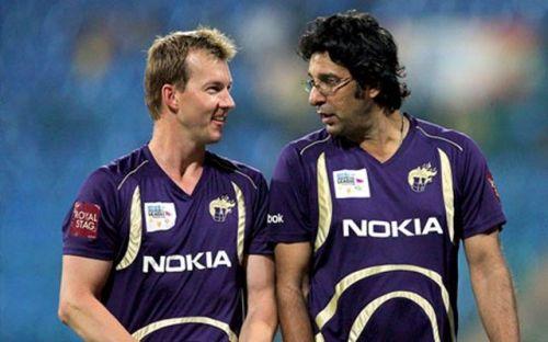 Brett Lee with Wasim Akram