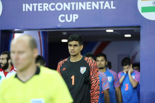 Gurpreet Singh Sandhu comes out on the pitch with his teammates for India's match against Syria in the Intercontinental Cup