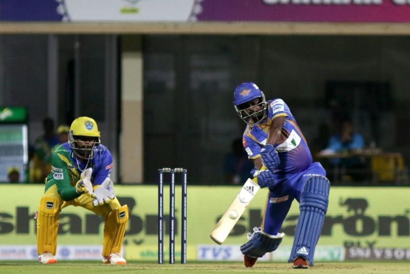 A late cameo by Vasanth Srinivasan S. of the Tuti Patriots saw them post a daunting 155 against the Lyca Kovai Kings in the Sankar Cement TNPL 2019 at NPR college cricket ground, Dindigul.