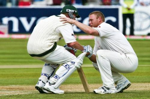 The iconic moment between Flintoff and Lee in the 2005 Ashes