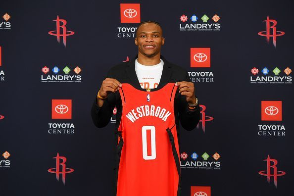 Russell Westbrook showing off his new Houston Rockets threads