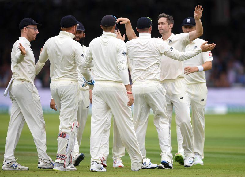 Team England Celebrate a Wicket.