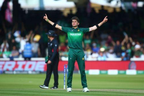 Shaheen Afridi celebrating a wicket against Bangladesh