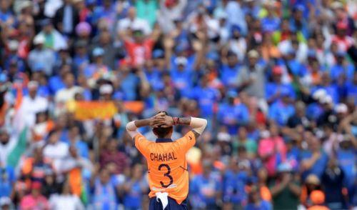 Yuzvendra Chahal bowling at the ICC Cricket World Cup 2019