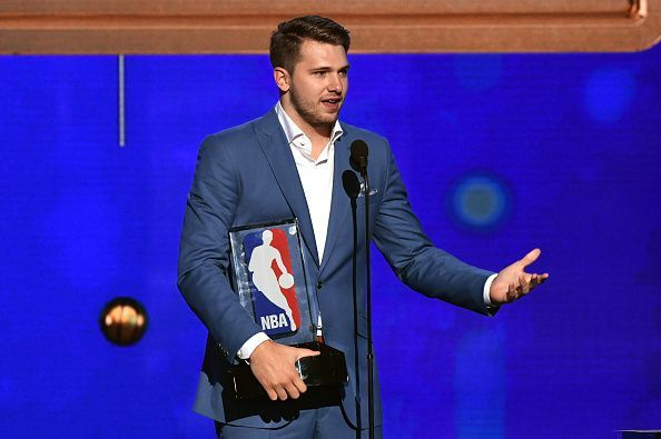 Doncic at the 2019 NBA Awards, with his Rookie of the Year accolade last month
