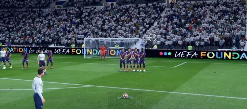 A free-kick in FIFA 20