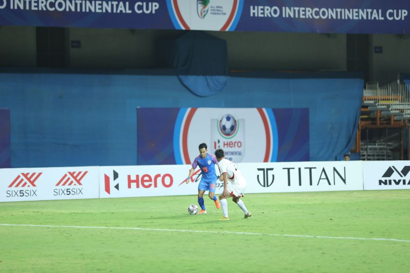 Udanta Singh in action for India against DPR Korea in the Intercontinental Cup