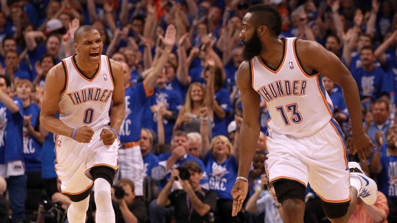 Russell Westbrook (left) and James Harden when they played together with the Thunder.