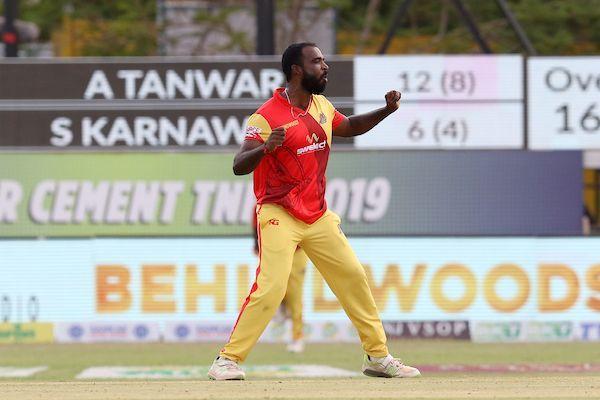 Silambarasan R of VB Kanchi Veerans celebrates the wicket of Sabin Somatha Karnavar of Siechem Madurai Panthers