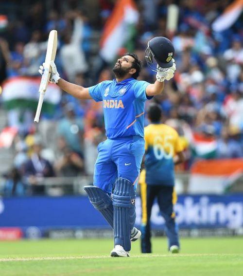 Rohit Sharma celebrates his century against Sri Lanka