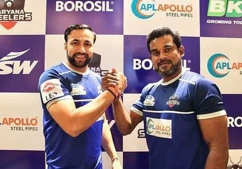 Coach Rakesh Kumar (L) with captain Dharmaraj Cheralathan