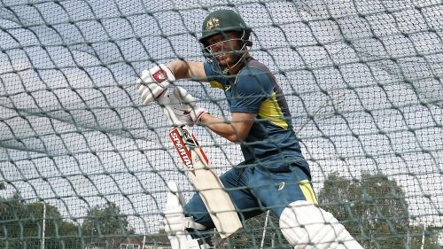 Australia opener David Warner in the nets on Tuesday